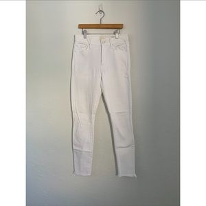 Mother High Waister Ankle Fray White Jeans